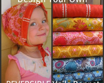 Design Your Own Reversible Cotton  Voile Bonnet- custom sizes