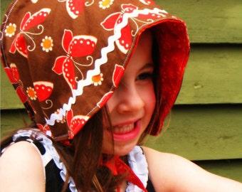 SALE  Reversible Cotton Bonnet - Mariposa- LAST ONES