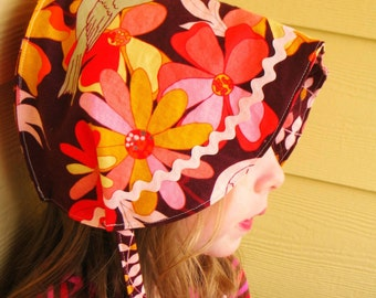 Reversible Cotton and Linen Bonnet - custom sizes