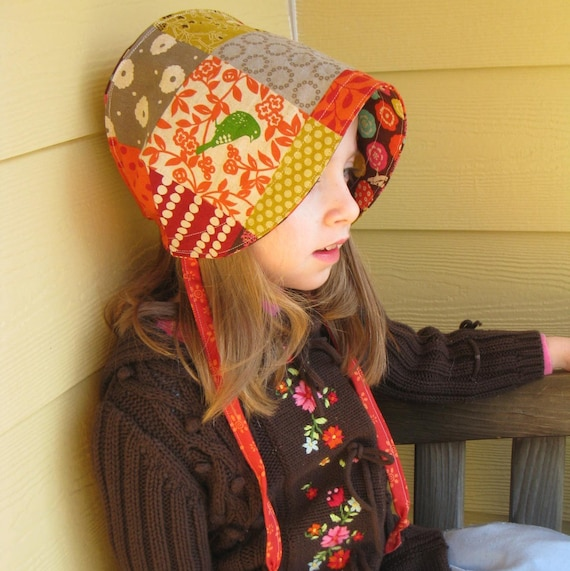 LAST ONE- Reversible Cotton and Linen Bonnet - custom sizes