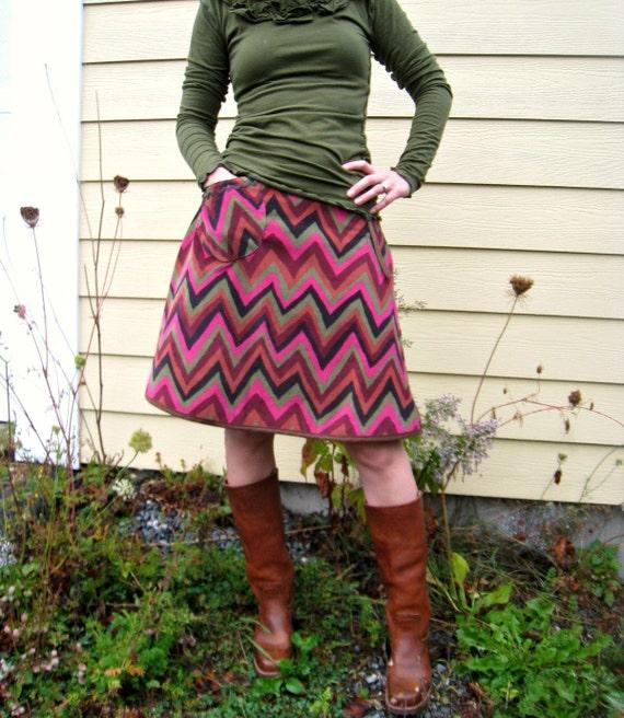 Lovestory Wrap Skirt - Chevron Corduroy -AutumnColors- Adjustable Size- Ready to Ship