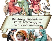 Bathing Beauties - Digital Download - 17 PNG Images files - for ACEO, Tags, Collage Art, and More