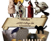 Witches - Digital Collage Sheet - INSTANT Download Printable Images - for ACEO, Tags, Collage Art, and More - JPG