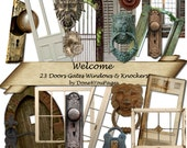 Welcome - 23 PNG downloadable images - INSTANT Download Doors Windows Knobs Knockers for ACEO, Tags, Collage Art, Altered Art