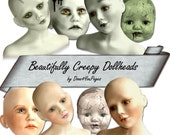 Beautifully Creep Dollheads - INSTANT Download Digital Collage Sheet - Images - for ACEO, Tags, Collage Art, and More - JPG
