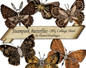 Steampunk Butterflies - INSTANT Download Printable Collage sheet - for ACEO, Tags, Collage Art, and More - JPG