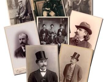 Cabinet Card Set 4 - Men - Printable Digital Collage Sheet INSTANT Download for altered, collage, steampunk art, cards, ACEO - JPG