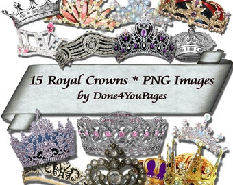 Royal Crowns - Digital PNG Image Set of 15 - for ACEO, Tags, Collage Art, and More