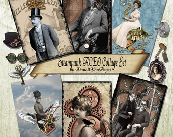 Steampunk ACEO Collage Set - INSTANT Download Digital Image Sheet - Printable - JPG