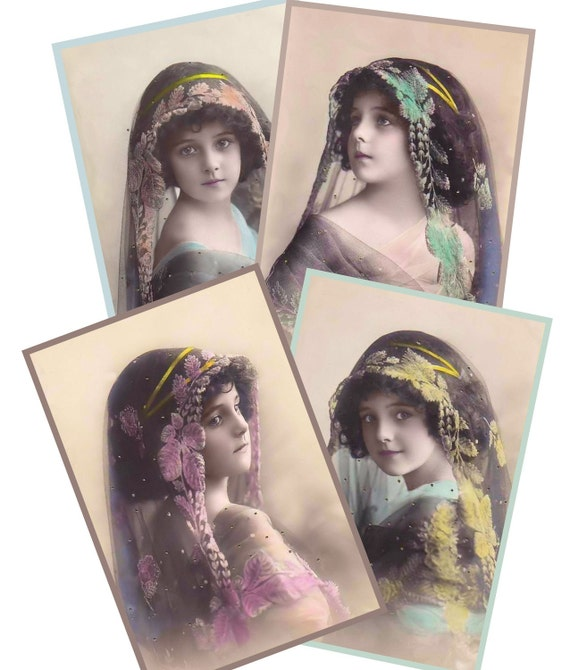 Veiled Beauties - Set of 4 Little Girl Postcards - Printable Images INSTANT Download for altered, collage art, cards, ACEO, Tags - Jpg