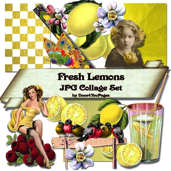 Fresh Lemons - INSTANT DOwnload Digital Collage Sheet - Images for ACEO, Tags, Collage Art, and More - JPG