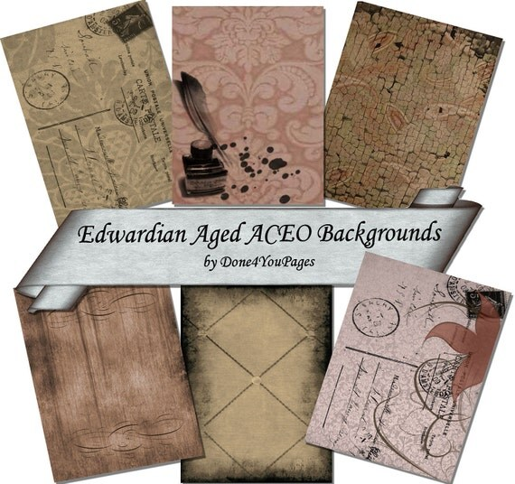 Edwardian Aged Backgrounds - Digital Printable Backgrounds - for ACEO, Tags, Collage Art JPG