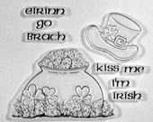 Eirinn Go Brach clear stamps pot of gold leprechaun hat