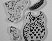 Backyard Friends clear stamps sleepy owl, baby bird, squirrel