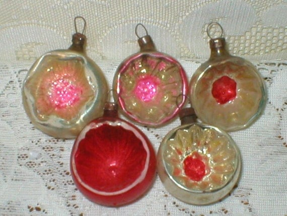 Vintage 1940s German Mercury Glass Christmas Ornaments 5 Deep Indent