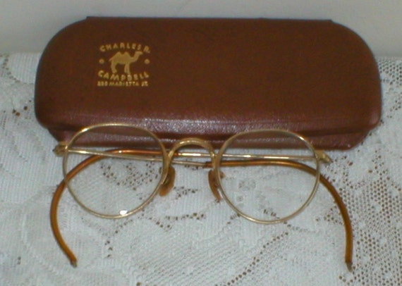 EyeGlasses Childs Wire Rim Granny Glasses W/ Case Vintage