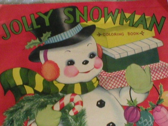 Christmas Coloring Book Jolly Snowman Large vintage 1940s Oversized ...