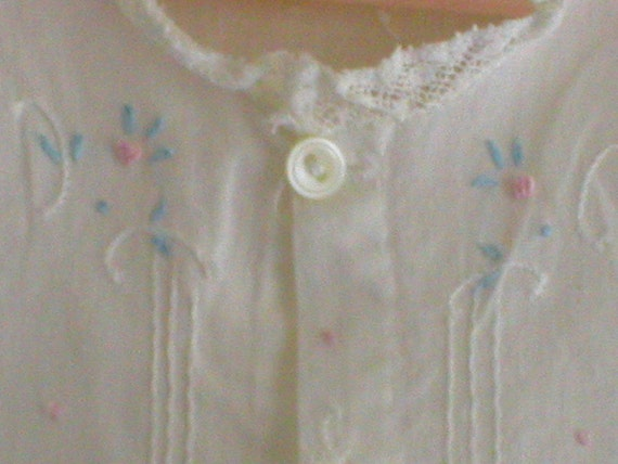 Vintage Antique Baby Dress Infant Day Gown Lacy Pink and Blue Embroiderey Tiny Pearl Buttons