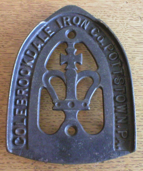 Black Sad Iron Trivet Colebrookdale Pa. Crown and Gothic Cross Design Steampunk Home Decor Vintage