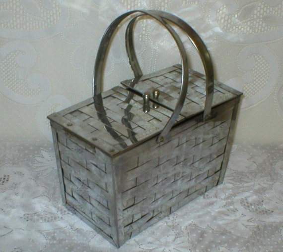 RESERVED FOR VERONICA Box Purse Metal Chrome Basket Weave Silver Vintage