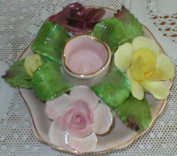 Denton Rose Candle Holders 2 Candlestick Bone China England