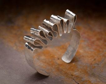 ribbon candy sterling silver bracelet cuff