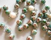 8 mm Lake Blue Closonne  9mm Pearl Beads Rose  Rosary Cross