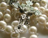 Rare Bali Sterling 925 Silver Beads AAA Real Pearl Rosary Beautiful Crucifix and Box medal crucifix catholic necklace