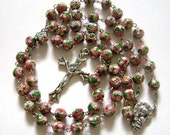 PINK Cloisonne ROSE BEADS Rosary and Cross necklace