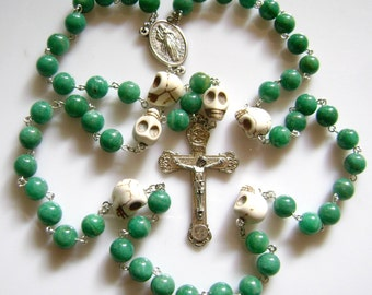 White Turquoise Skulls  And Amazonite Beads Rose rosary Cross
