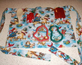 Christmas Critters Children's Apron with Baking Utensils