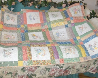 Sunshine Fun Vintage Look  New Baby Animal Crib Size Quilt