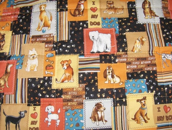 Puppy Dog Quilt Throw -Cozy Flannel Furniture Protector