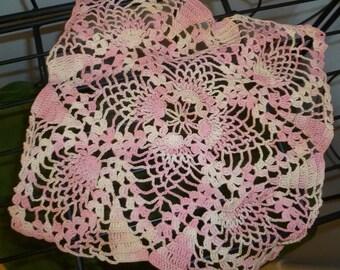 Vintage Pink Variegated Cotton Thread Doily