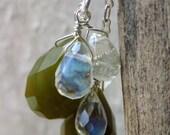 Olive Green Jade Earrings