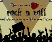 20 - Custom Rock and Roll Invitation (front and back)