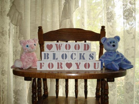 Baby Blocks 10 Letters with 2 symbol blocks Free Shipping in USA baby shower photo shoot birthday nursery match crib bedding holidays