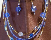 Cobalt Blue 4-Strand Necklace and Earrings Set