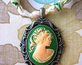 LaDy CLoth Necklace with Cameo Pendant