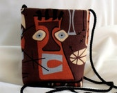 Retro Mini Bag -- Tiki Lounge - Mai Tai Barkcloth - Brown Rust Blue Cream - Small Messenger -- Free Domestic Shipping