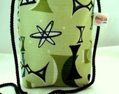 Retro Tiki Tropical Mini Bag -- Kiwi Lime Green Atomic Barkcloth Purse - Small Messenger Bag