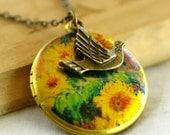 Monet's Sunflowers Locket w/ Bird Necklace