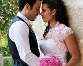 Reserved for SARA Fully Lined POISON light pink bridal dupioni silk bolero jacket wedding shrug bridal shrug pale pink bolero jacket