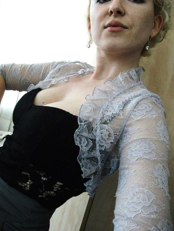 Quiet forest wind Light lilac french lace bolero bridal bolero jacket wedding shrug