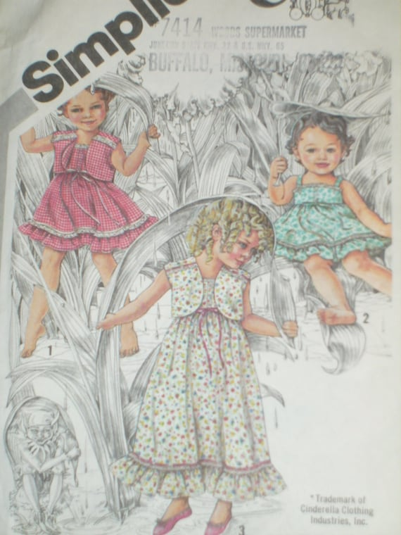 1980's Simplicity 9940 Cinderella Sewing Pattern, Toddlers' Sundress And Jacket, Sizes 1/2 And 1, Factory Folded