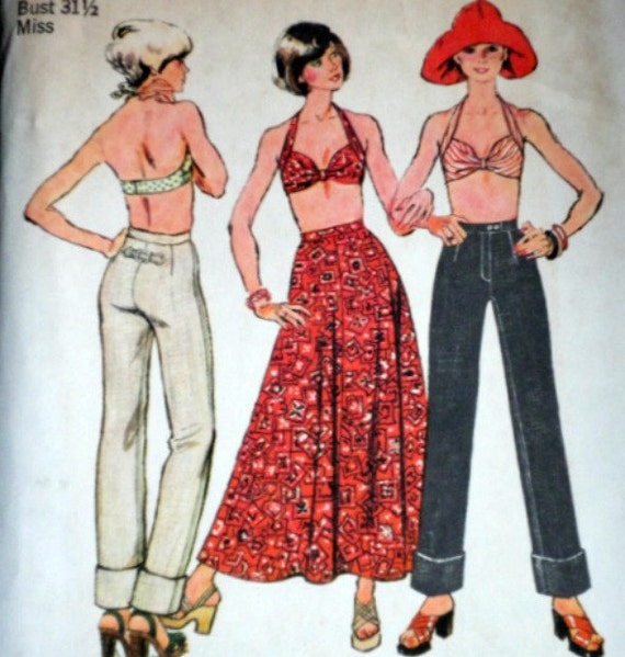 Vintage 1970's Simplicity 6432 Sewing Pattern, Bra-Top, Bias Skirt And Jeans, Size 8, Factory Folded