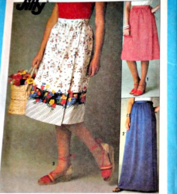 Vintage 1970s Simplicity 8336 Sewing Pattern, Jiffy Front-Wrap Skirt In Two Lengths, Size 14-16, Factory Folded