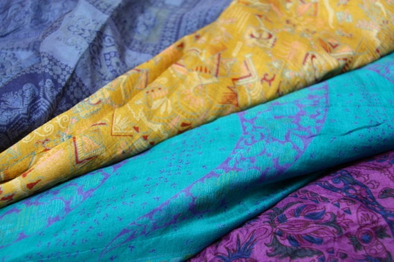 1 kilo of Used Silk Sari for Fiber Arts and Craft Repurposing