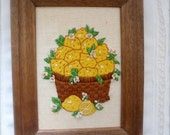 Vintage Needlepoint of Basket Full of Lemons