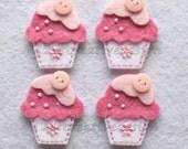DOUBLE LAYERS Cupcake Felt Applique With Cute Button (white - mauve) - Set of 4 pcs
